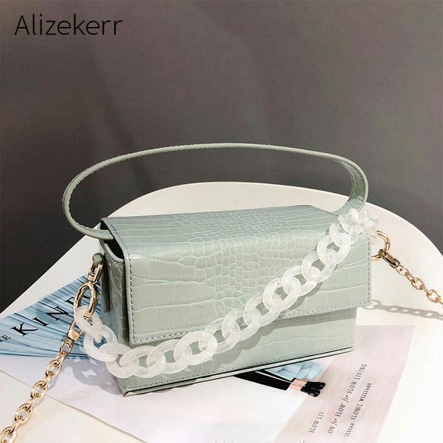 Acryl Kette Box Handtasche Frauen Sommer Mode Grün Krokodil Muster Kleine Platz Schulter Messenger Taschen Weibliche Neue Elegent