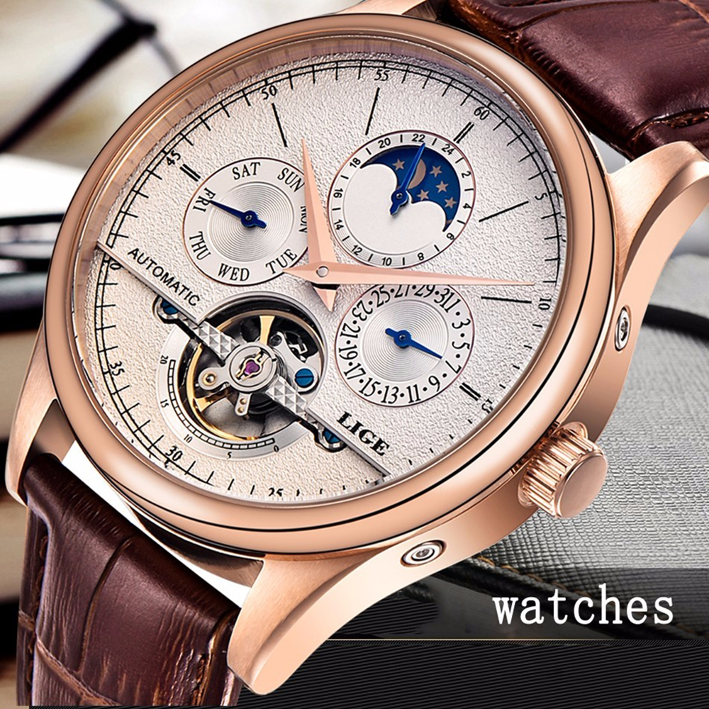 2016 Casual Men Watches Luxury Top Brand LIGE Sport Watch Leather Gold Clock Men Tourbillon Automatic Wristwatch With Moon Phase