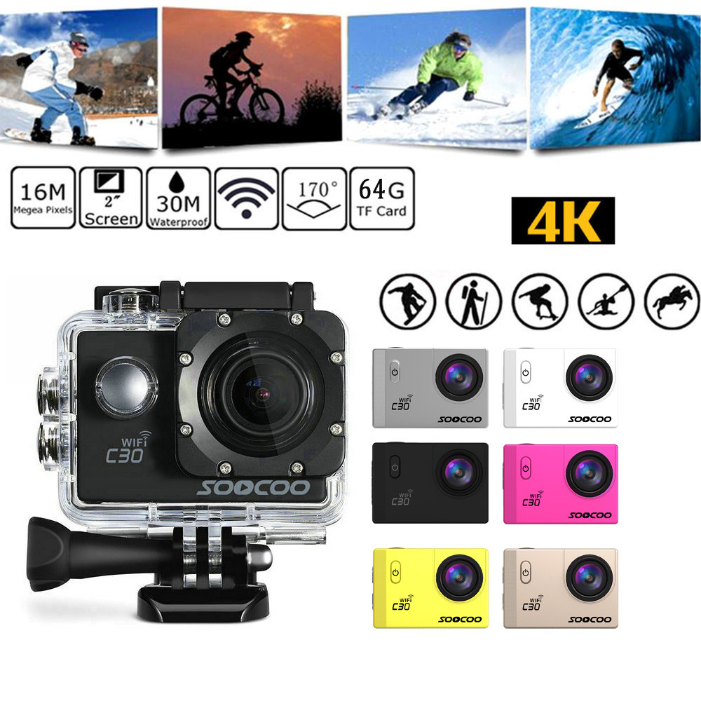 SOOCOO C30 Action Camera 4K 20MP 2.0 Inch Waterproof Diving With Sports Camera+Action Video Cameras Accessories set USB Cable soocoo c30 sports action camera wifi 4k gyro 2 0 lcd ntk96660 30m waterproof adjustable viewing angles