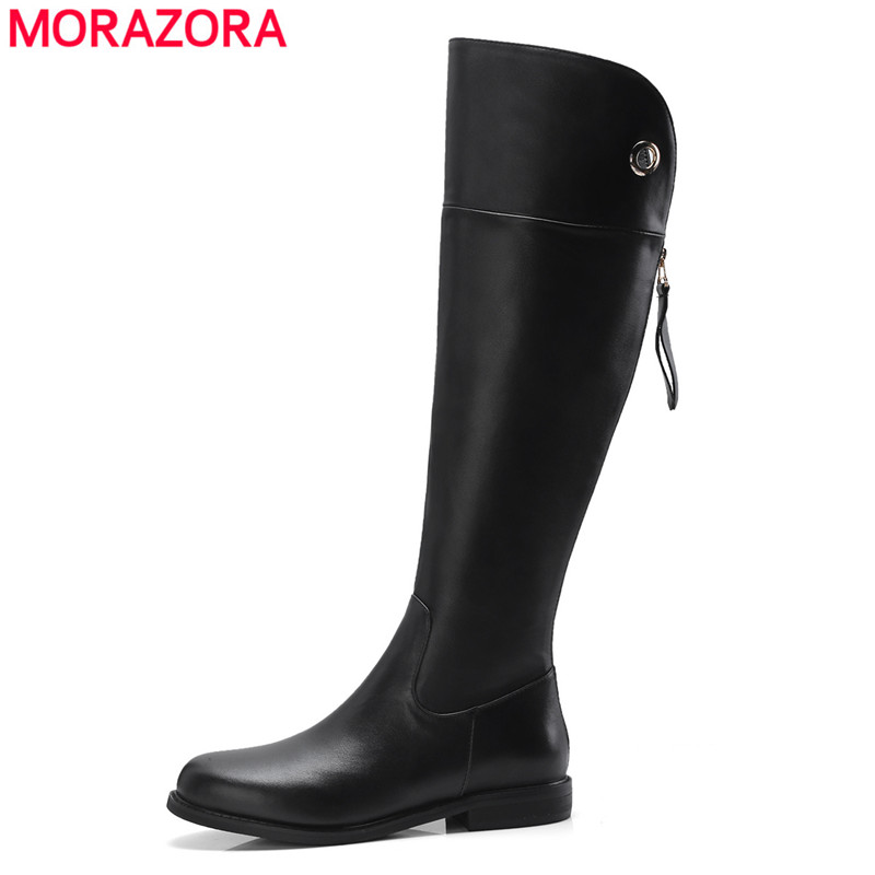 MORAZORA 2018 top quality womens boots genuine leather round toe zipper autumn winter boots ladies shoes knee high boots MORAZORA 2018 top quality womens boots genuine leather round toe zipper autumn winter boots ladies shoes knee high boots