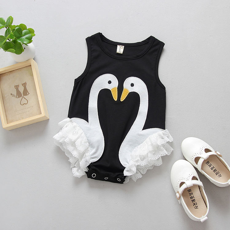 e1ef665c08a4 Toddler Baby Kids Girls Flamingo Feathers Swan Romper Jumpsuit Playsuit  Outfits Newborn Girl Summer Rompers Sunsuits -in Rompers from Mother   Kids  on ...