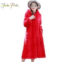 Jade гордость 2017 Новый дизайн юбки модные длинные с капюшоном женские пальто из искусственного меха в полоску Тонкий Толстые имитация кролик