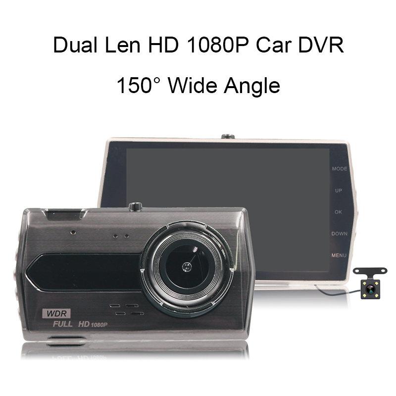 HD 1080P Dual Len Car Driving Recorder 150 Degree Wide Angle Vehicle DVR Night Vision 4 inch Dash Cam G-sensor Original Cameras