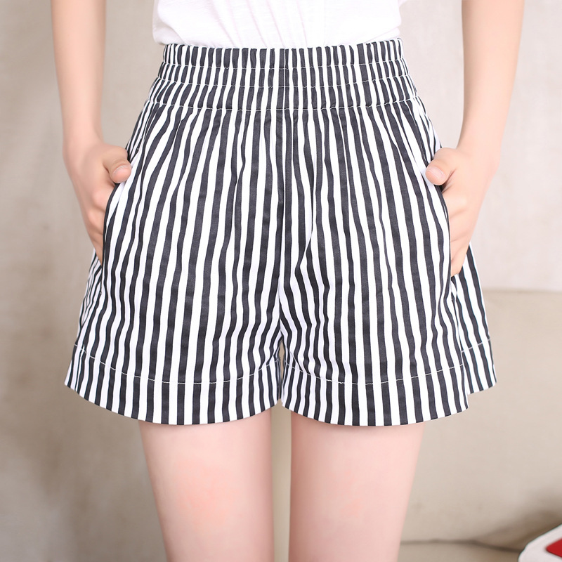 Summer Fashion Women Loose Cotton Black White Stripes Large   Short   Pants Simple Cool Ladies Party Shopping Office   Shorts   4XL