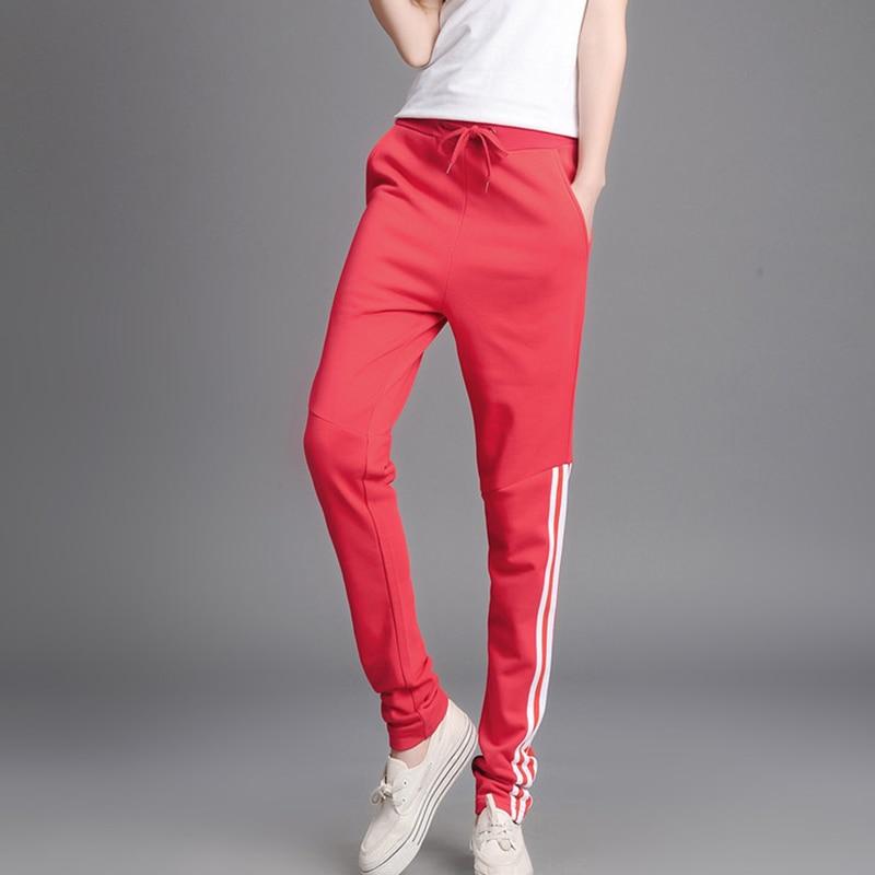Sport-Pants Side-Pocket Drawstring Striped Women Workout Fitness Slim Soft-Sweat-Wicking