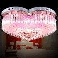 7 цветов 30 Вт LED K9 кристалл droplight 4 Свет спальни лампы и фонари современный и контракт LED кристалл сердце свет