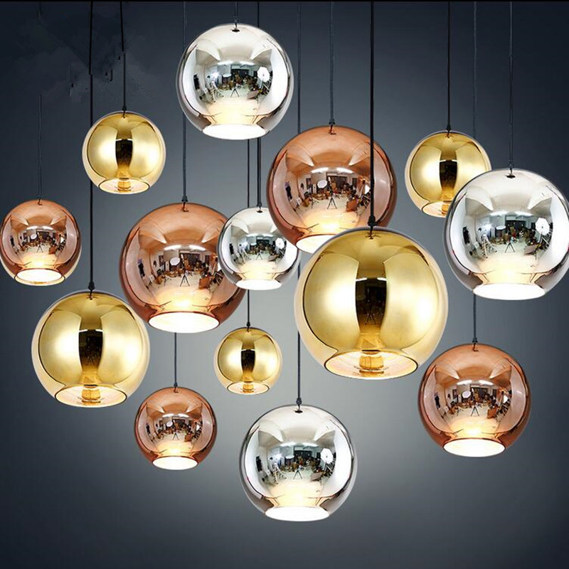 modern pendant lamp Copper Shade Mirror Ball glass Suspension indoor lightings LED lights hanging light Fixture Plated bronze