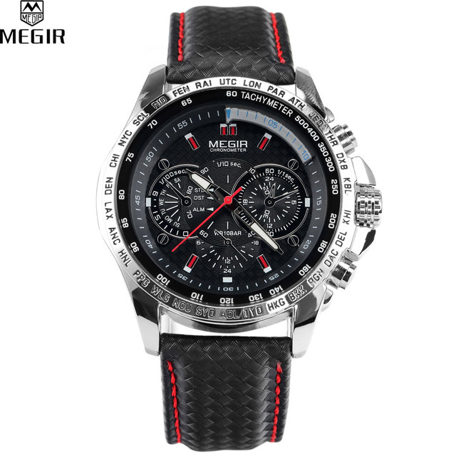aliexpress com buy megir men s quartz watch leather band black megir men s quartz watch leather band black watch waterproof men fashion mens watch top brand