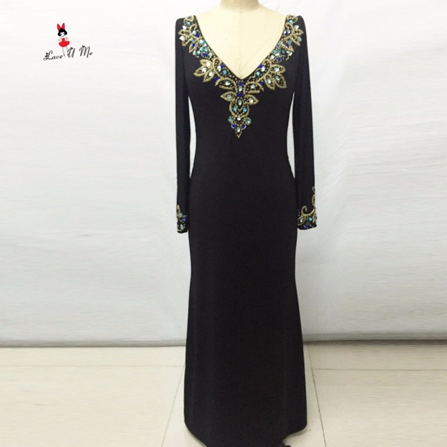 Black Elegant Long Sleeve Evening Dress Formal Evening Gowns Beaded ...