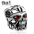 Beier new store 316L Stainless Steel ring top quality terminator men punk ring arnold schwarzenegger actor jewelry BR8-259