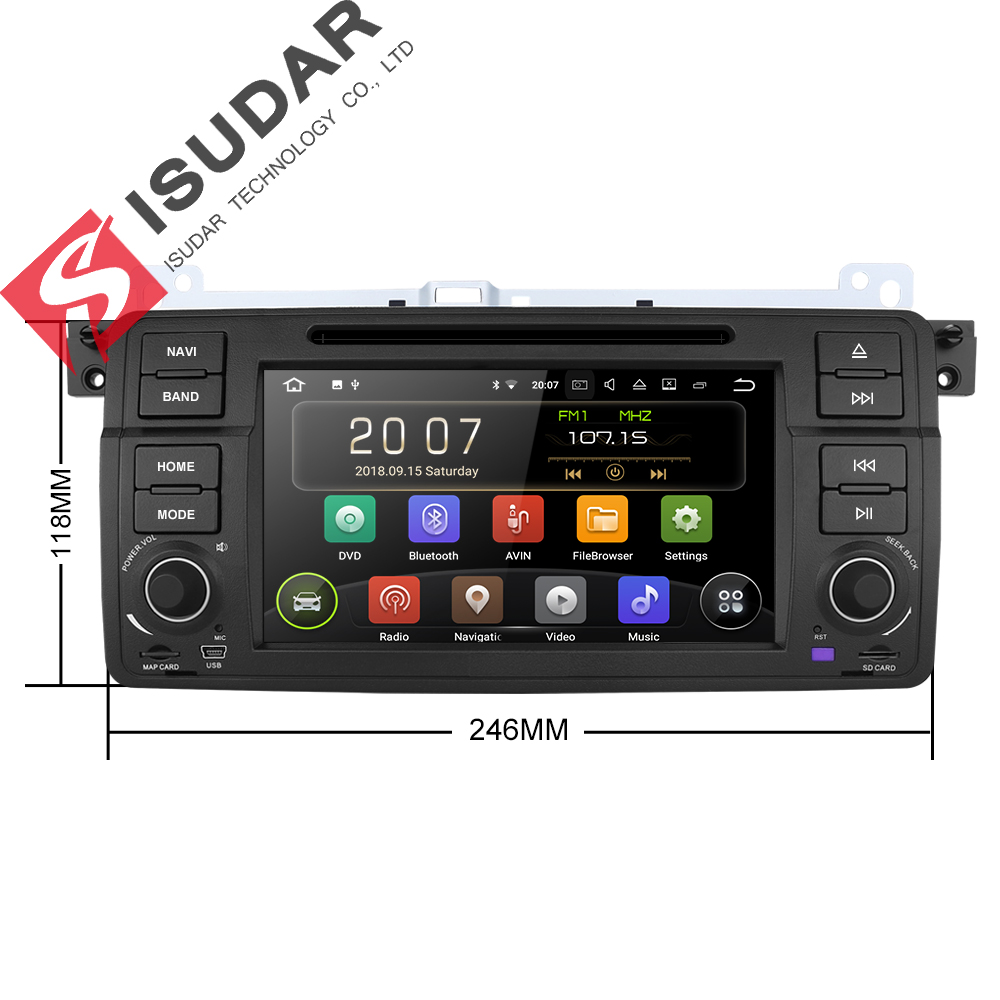 Isudar Car Multimedia Player Android 8.1.0 GPS 1 Din DVD Automotivo - Electrónica del Automóvil - foto 3