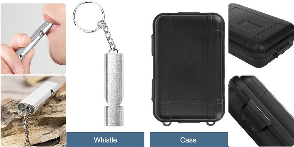Survival Kit Outdoor Portable Emergency Tourism Equipment Camping Survival Tools Military Travel Kit Whistle,Knife, Tactical Pen (16)