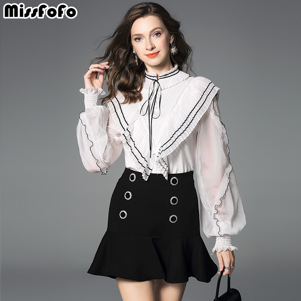 8e8fa74a68a337 Mode Stand Office Nouvelle Beige 2019 l Ruches Blanc Lady Taille Manches  Noir Missfofo Solide Mince ...