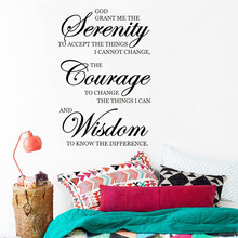 Inspirational Quotes Wall Sticker Vinyl Art Design Removable Poster Mural Serenity Courage Wisdom Home Decor Beauty LY1514