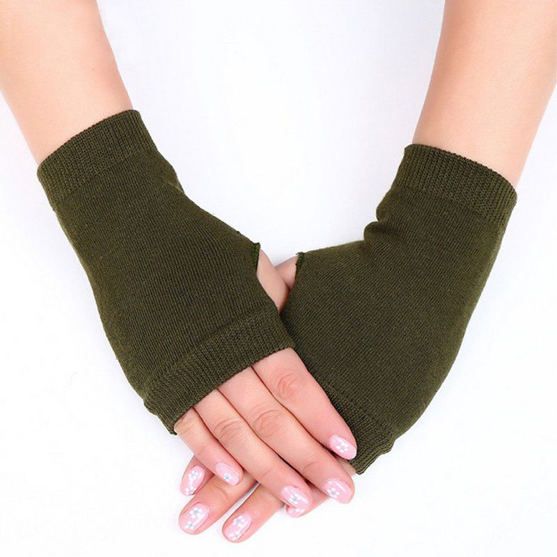 2018 Cashmere Autumn Winter Warm Gloves Half Finger Cotton Wrist Sleeveless Have Finger Hole Exposed Finger Korean Style Gloves