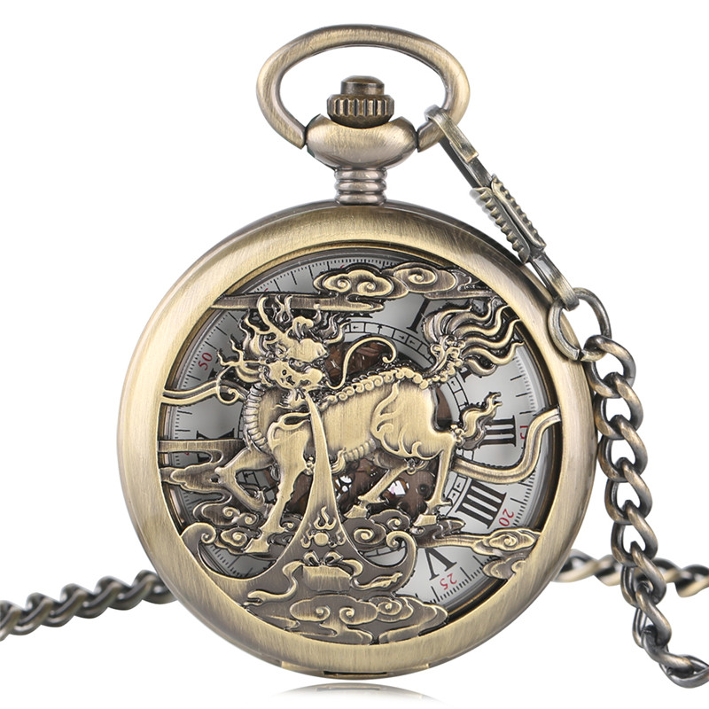 Retro Oriental Mechanical Pocket Watch Delicate Hollow Chinese Kylin Sculpture Pendant Chain Antique Clock Novel Men Women Gifts steampunk antique silver mechanical skeleton pocket watch mens women watches vintage hollow pendant chain clock gifts retro