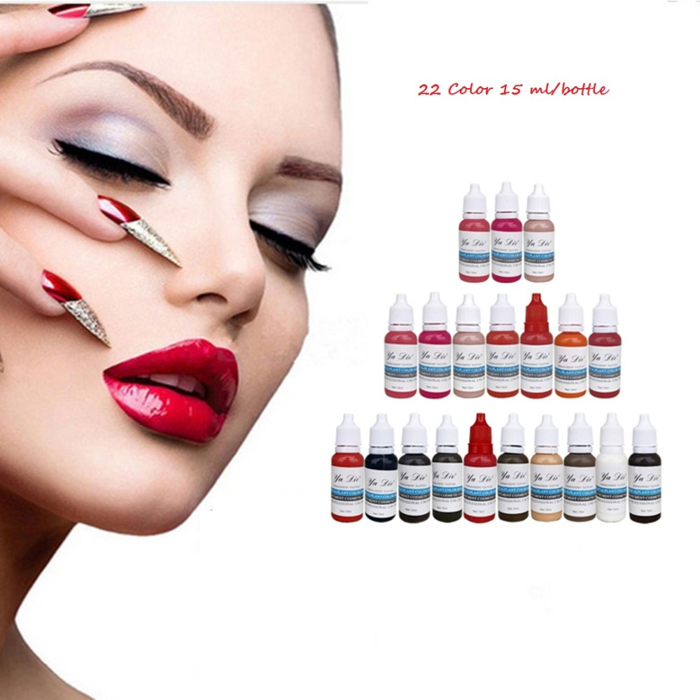 Professional Permanent Makeup Machine Pigments Set 15ml Microblading Pigpigment Eyebrow Lip Eyeliner Make up 22 color Tattoo Ink 7 colors permanent eyebrow lipstick microblading pigments paints ink for lip tattooing 15ml 1 2 oz