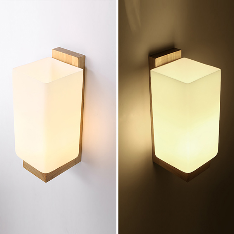 Modern white glass lampshade natural Wood Wall Lamp wall sconce for bathroom bedroom corridor deco lights fixture E27 modern wooden led wall lamp bed room bedside natural solid wood white glass bedroom bedside aisle corridor entrance wall sconce