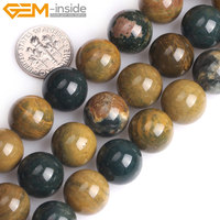 ff7619b1d666 Gem Inside 14mm Yellow Ocean Jaspers Gem Stone Round Beads For Jewelry  Making Strand 15 DIY