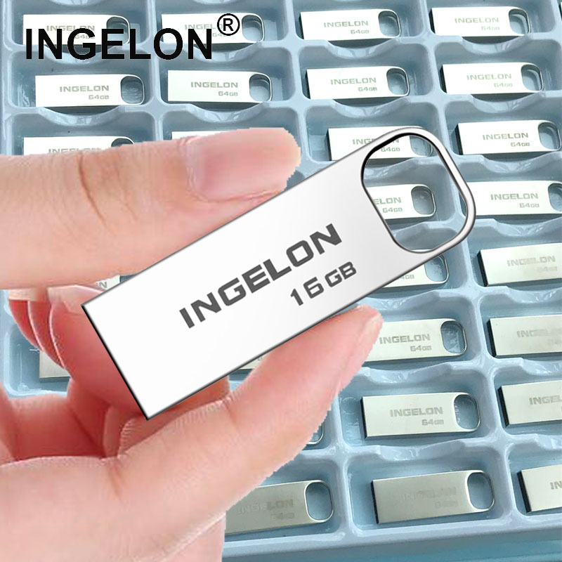 Ingelon 50pcs/Lot Bulk USB Drive 16gb 32gb 64gb 128gb Metal Usb2.0/3.0 8GB 4GB Custom Pendrive Wholesale Offers With Free Ship