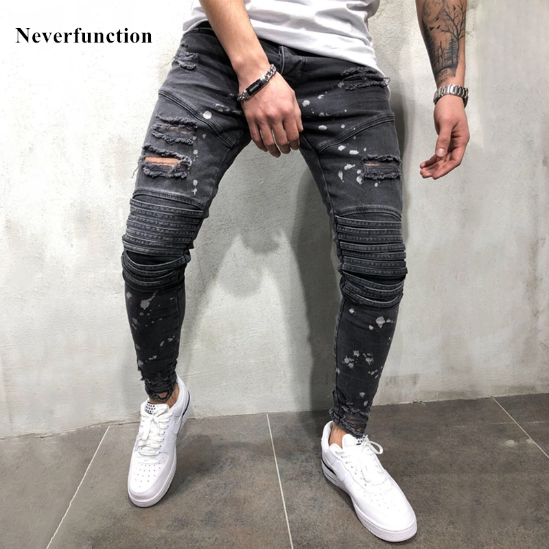 Los hombres de Ripped Skinny Jeans biker de la rodilla falda salpicaduras  de tinta streetwear Joggers Denim Pantalones vaqueros Dropshipping.  exclusivo. 60868011ba60
