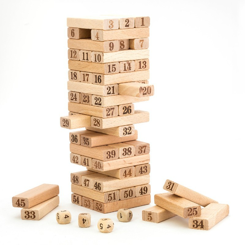 54pcs Children Wooden Tower Wiss Toys Kids Wood Number