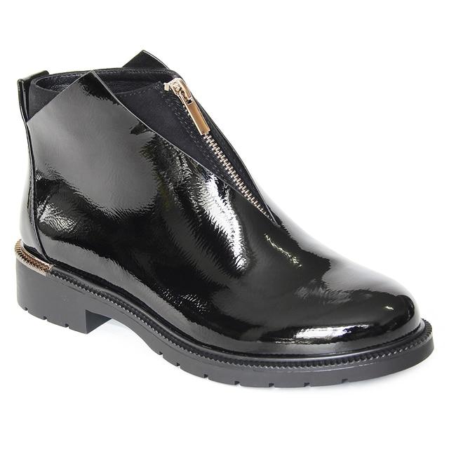 XAXBXC 2019 レトロ英国冬黒 Pu レザージッパー Brogues ショートアンクルブーツ暖かい女性ブーツ手作りカジュアル婦人靴
