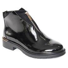 XAXBXC 2019 Retro Britânico Inverno Preto PU Zipper De Couro Brogues Ankle Curto Botas Quentes Mulheres Botas Feitas À Mão Sapatos Casuais Senhora