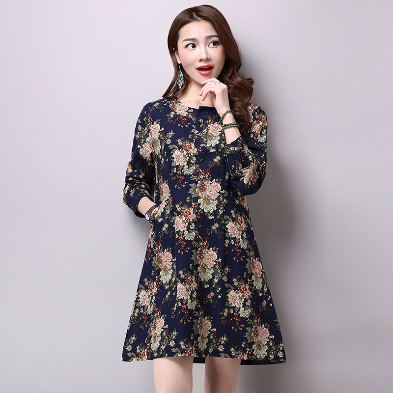 5f7a0938eb0a1b Vintage Short Mini Linen Dress Floral Print A-line Maternity Tunic Tops  Spring Autumn Skater Dress Long Sleeve O-neck Vestidos