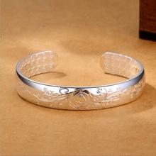 Lotus Sutra 925 sterling silver cuff bracelets bangles Tibetan Buddhist scriptures language female hand jewelry