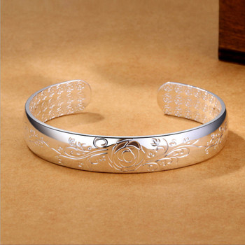 цена Lotus Sutra 925 sterling silver cuff bracelets bangles Tibetan Buddhist scriptures language female hand jewelry онлайн в 2017 году