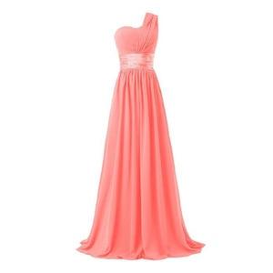 Image 3 - LLY6818BL#Chiffon Dark Blue Red Bridesmaid Dresses One shoulder Long Bride Wedding Party Toast Dress Girls Custom Free Wholesale