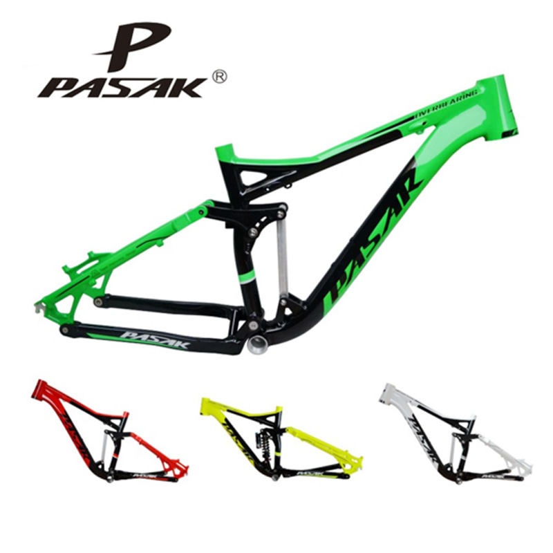 PASAK Full suspension Aluminum Alloy mountain bike frame Downhill soft tail cycling bicycle frame 17 inch mtb bike raw frame 26 aluminium alloy mountain bike frame bike suspension frame bicycle frame