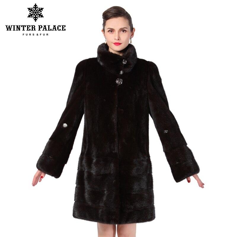 Nuevo estilo de moda abrigo de piel de cuero genuino mandarín Collar de buena calidad mlnk abrigo de piel. las mujeres negro natural abrigos