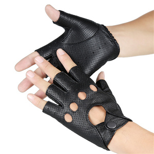 Image 3 - Breathable Hollow Men And Women Genuine Leather Gloves Wrist Half Finger Gloves Solid Neutral Adult Fingerless Y 10 5