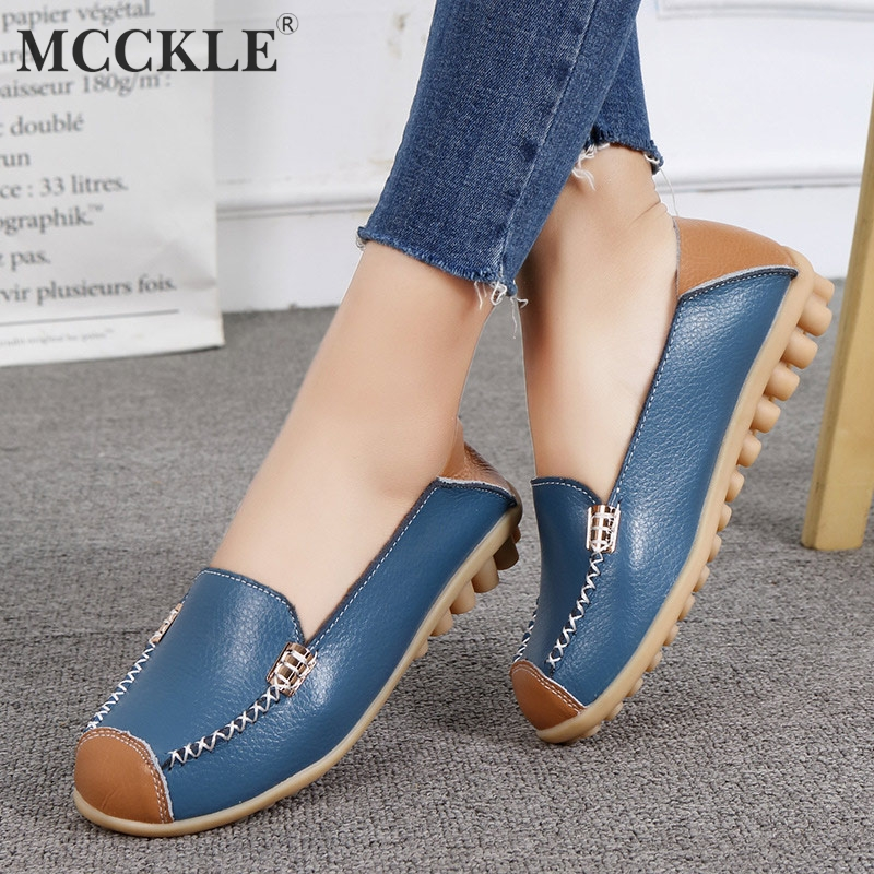 MCCKLE Plus Size Women Flat Platform Shoes Slip On Genuine Leather Female Loafers Casual Sewing Shallow 2018 Ladies Footwear цена