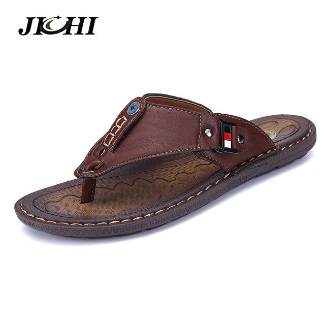 2019 New Brand Men Slippers Summer Beach Shoes Men Flip Flops High Quality Casual Sandals Leather Slip-On Breathable Sandalias