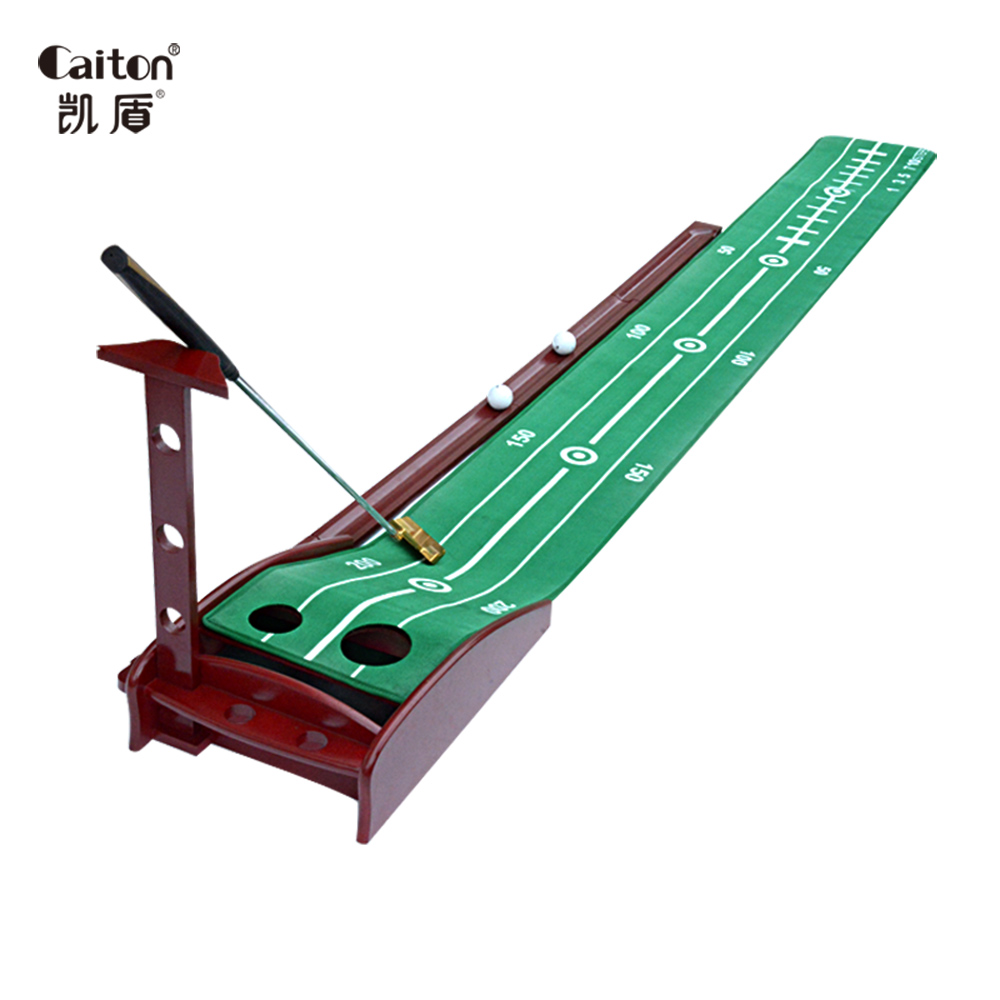Caiton Indoor Golf Putting Green with Redwood Base Velvet carpet golf putting trainer simulation mini golf course display toy set with golf club ball flag