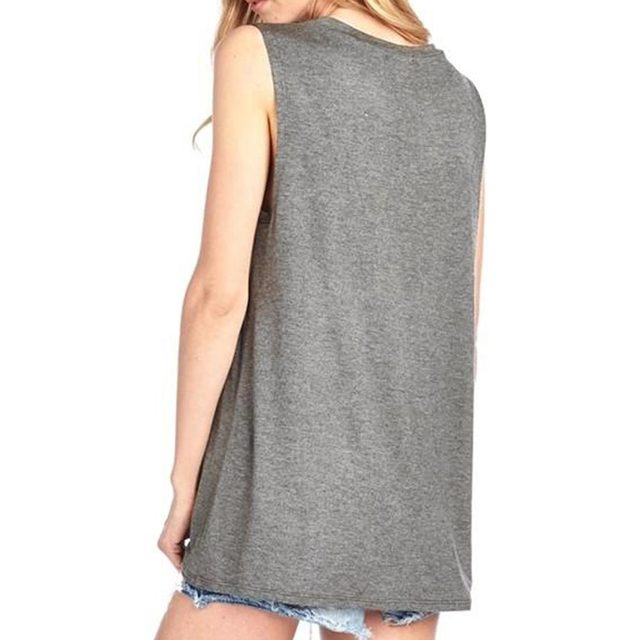 Plus Size Summer Tank Tops Women Good Vibes Print Gray O-Neck Tank Female Casual Loose Vest 2018 Sleeveless Ladies Tops Tee 3XL 2