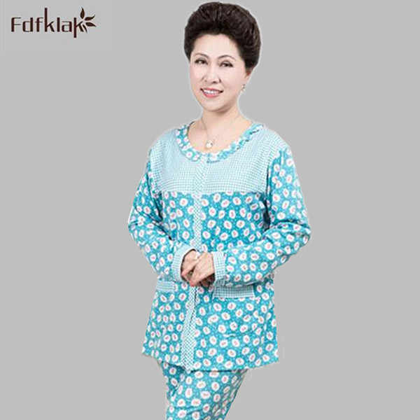 a5a55e0ee9 Women autumn winter pajamas good quality cotton pijamas mujer floral  printed pyjama femme oversized female home clothing Q527-in Pajama Sets from  Underwear ...