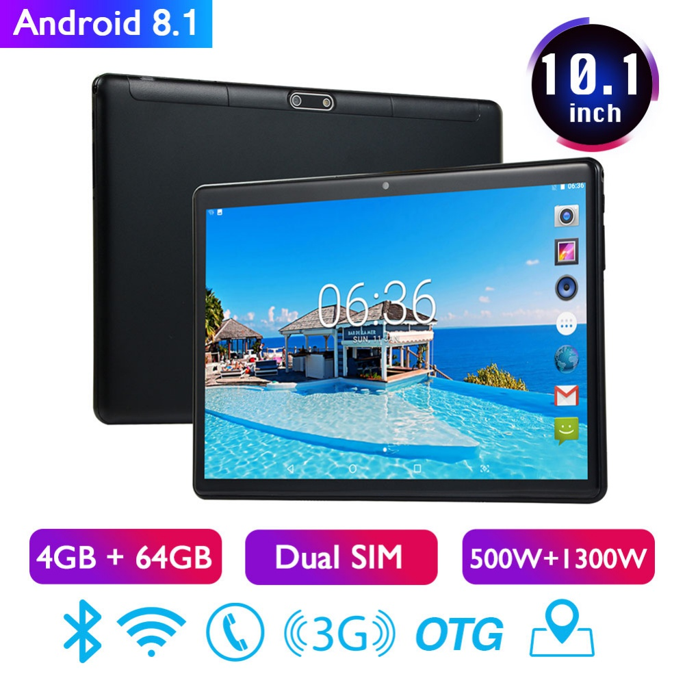10.1inch 4GB+64GB Android 8.1 WiFi Tablet PC Dual SIM Dual Camera 3G Phone Pad Tablets with EU/US Power Supply Adapter