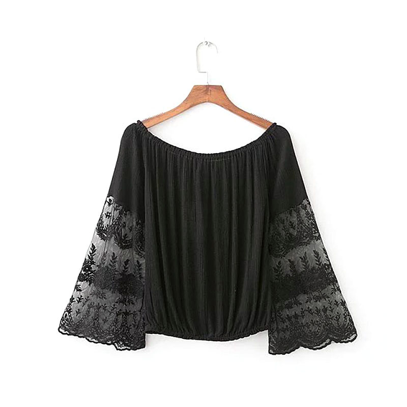 black white lace Flare sleeve   blouse     shirt   women tops Summer 2017 Casual off shoulder feminine Elegant short   blouse     blouse