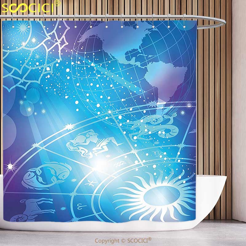 Polyester Shower Curtain Zodiac Decor Mystical Sun Rays On Horoscope Plan With Digital Made Globe Earth Cosmos Art Image Blue