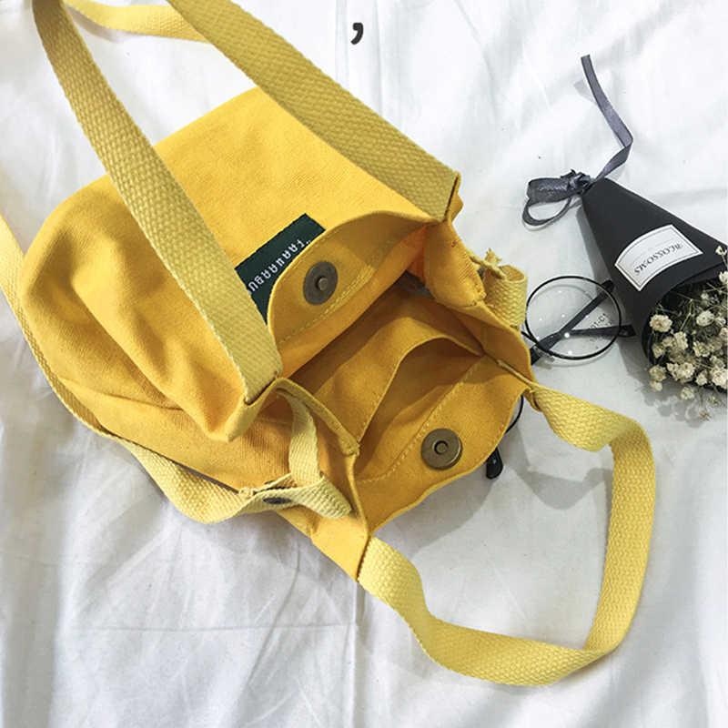 GABWE New Women's Shoulder Bag Canvas Handbag Korean Messenger Bag Mini Crossbody Bags for Girls Ladies Bucket Bag High Quality
