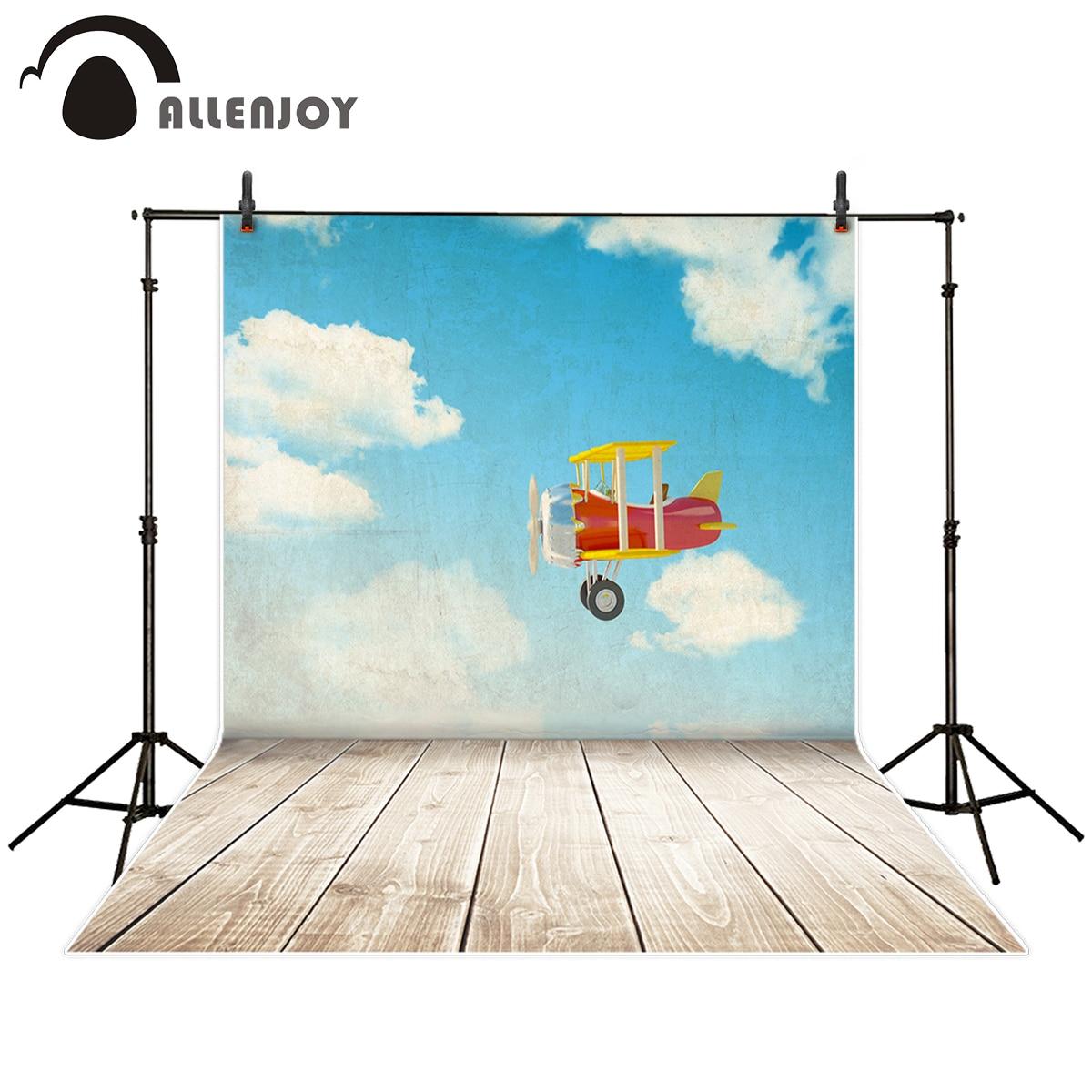 Allenjoy Фон фотографии красный самолет sky clound Дети Пилот Приключения деревянный пол фон photocall фото студия
