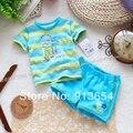 new 2014 Summer baby clothing set child short-sleeve T-shirts top + shorts 2pcs set baby boy casual striped set
