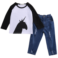 2pcs!!Autumn Spring Toddler Infant Kid Baby Girl Boy Clothes Long Sleeve Horse T-shirt Tee +Denim Pants Outfits Set
