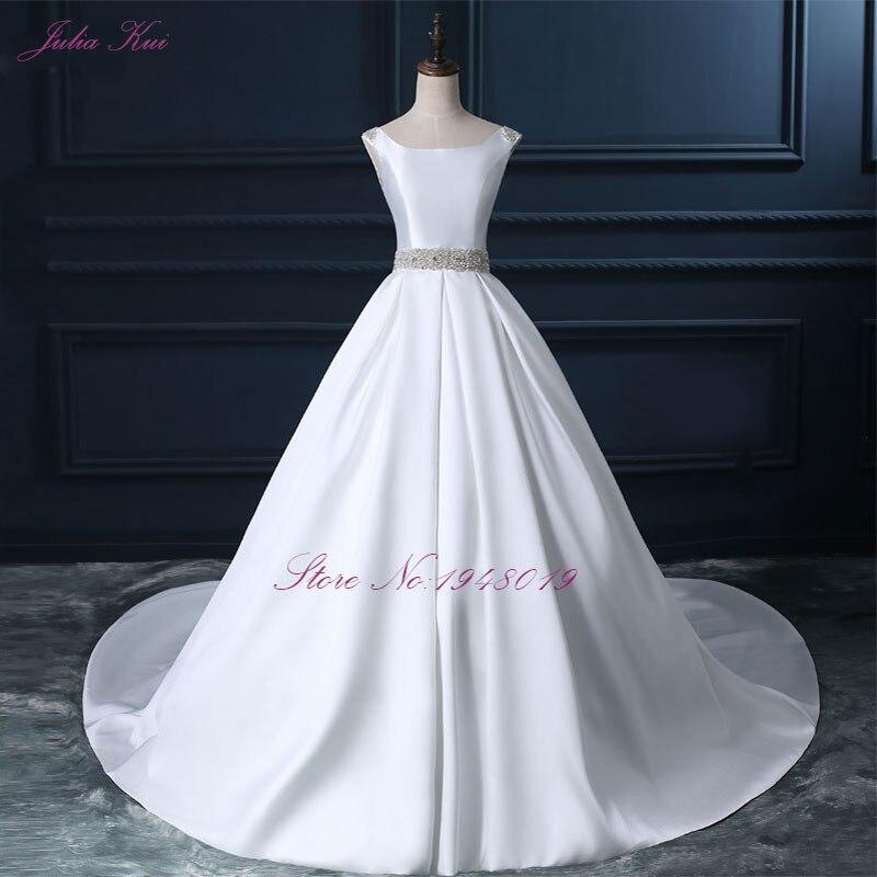 Julia Kui High end Custom Elegant Satin Wedding Dresses Scoop Neckline With Beading Sash Ball Gowns