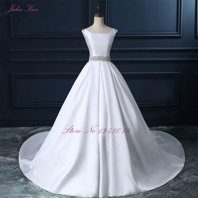 Julia Kui High End Custom Elegant Satin Wedding Dresses Scoop Neckline With Beading Sash Ball
