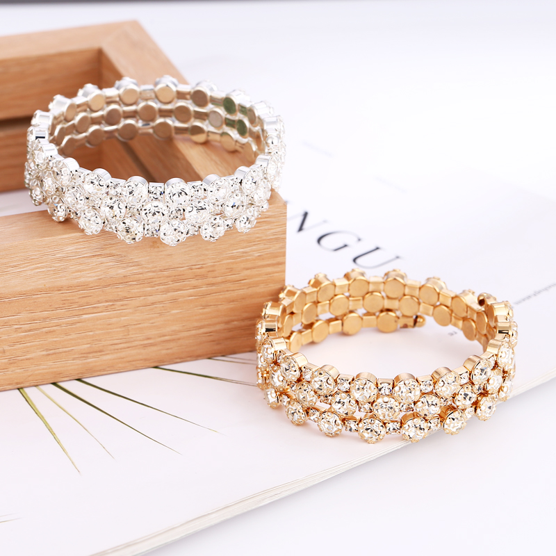 Bohopan Bohemia Multi-layer Elegant Bracelets Shine Crystal For Women Gold/Silver Color Wedding Party Bracelet Bangles